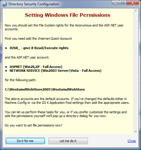 Running the configuration application - West Wind Web Store  NET